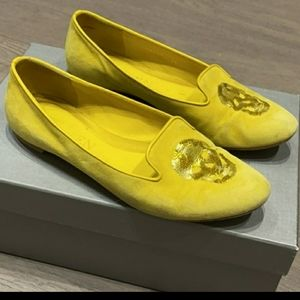 Alexander McQueen Yellow Suede Loafers Size 6